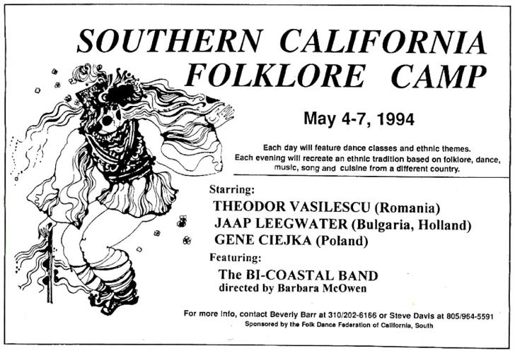 Southern California Folklore Camp Advertising - Folk Dance
